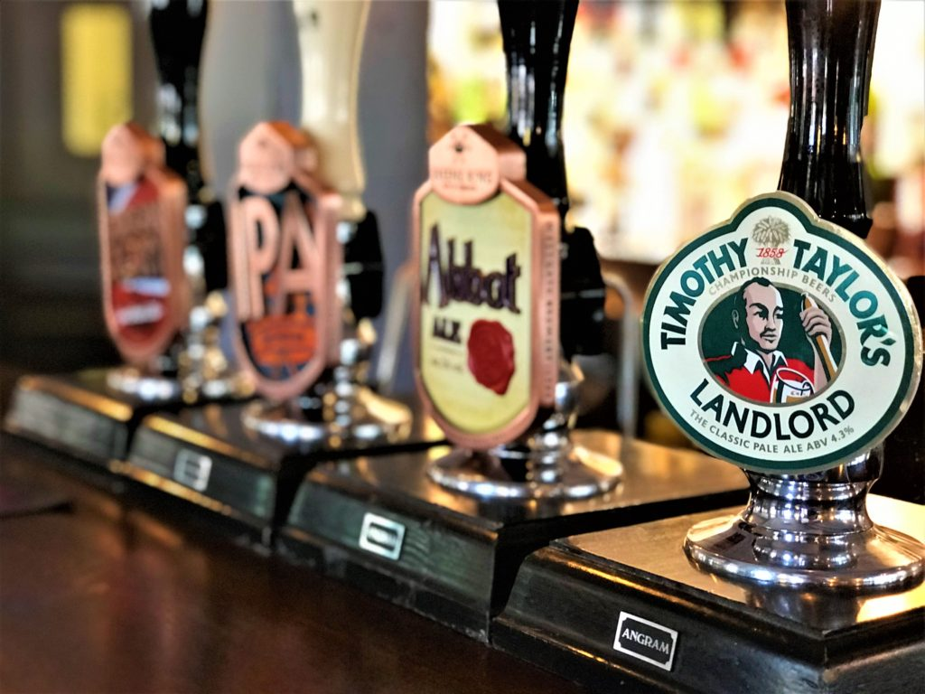 greene king london glory, IPA abbot ale and Timothy taylors landlord real ale taps at the marquis of granby pub stevenage