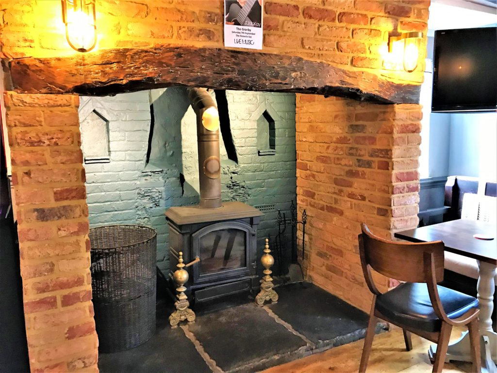 fireplace at the marquis of granby pub stevenage