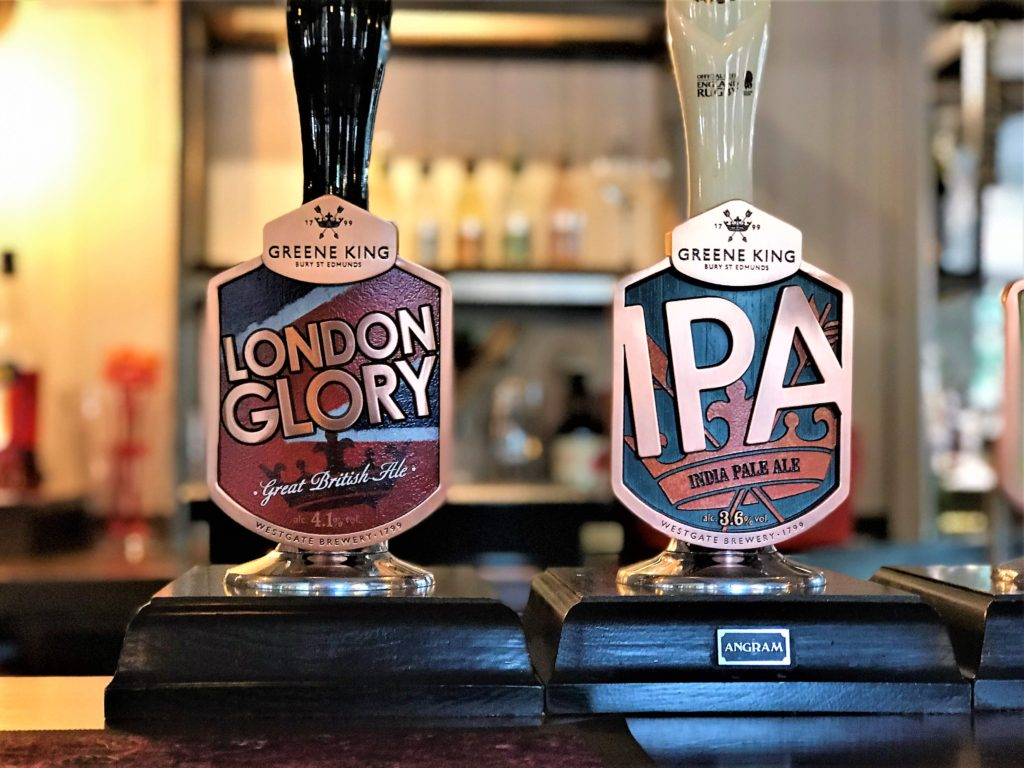 Greene King London glory and IPA real ale taps at the marquis of granby pub stevenage