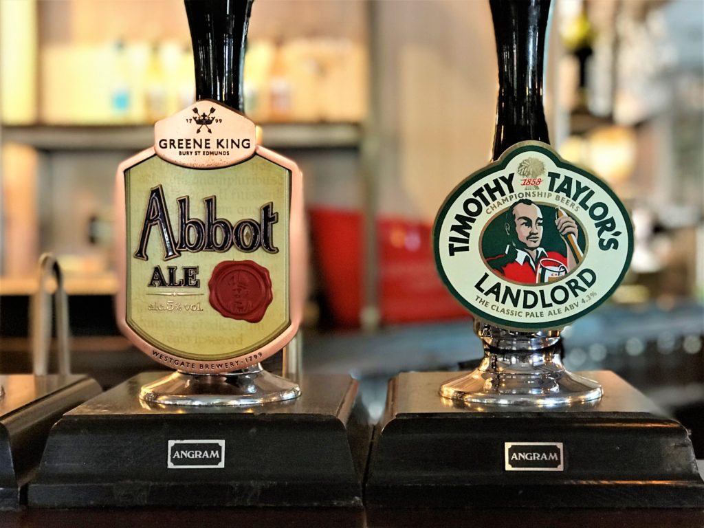 Greene King Abbot Ale and Timothy Taylors Landlord ale taps at the marquis of granby pub stevenage