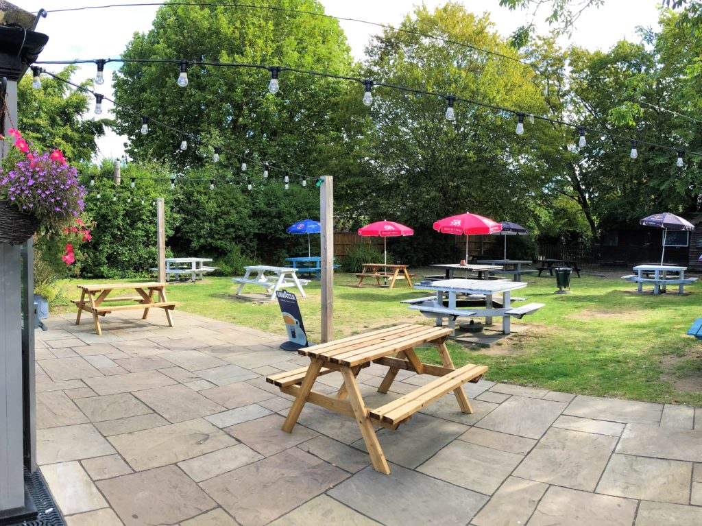 beer garden at the marquis of granby pub stevenage